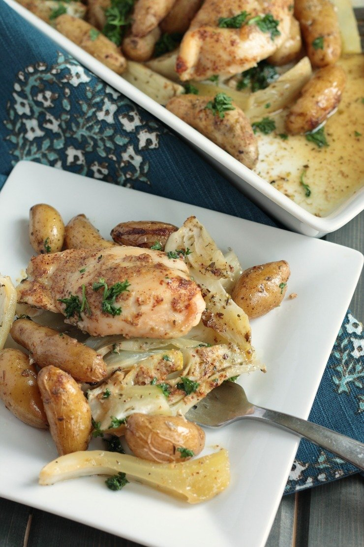 A filling and healthy dinner - Whole30 and Paleo! Just dump and bake - potato and fennel baked chicken casserole