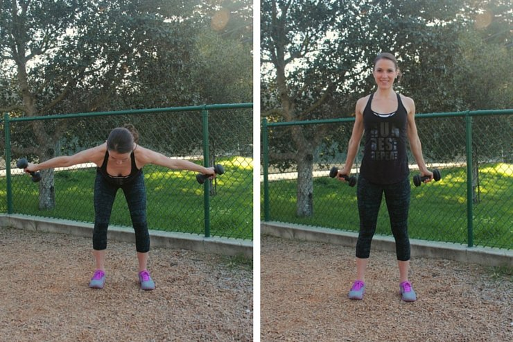 These shoulder squeezes, combined with a forward hinge at your waist is a great way to target you lower and upper back!