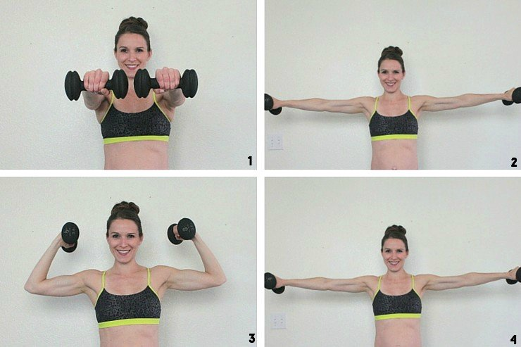 T shoulder taps to elevated bicep curls for buff lady arms!