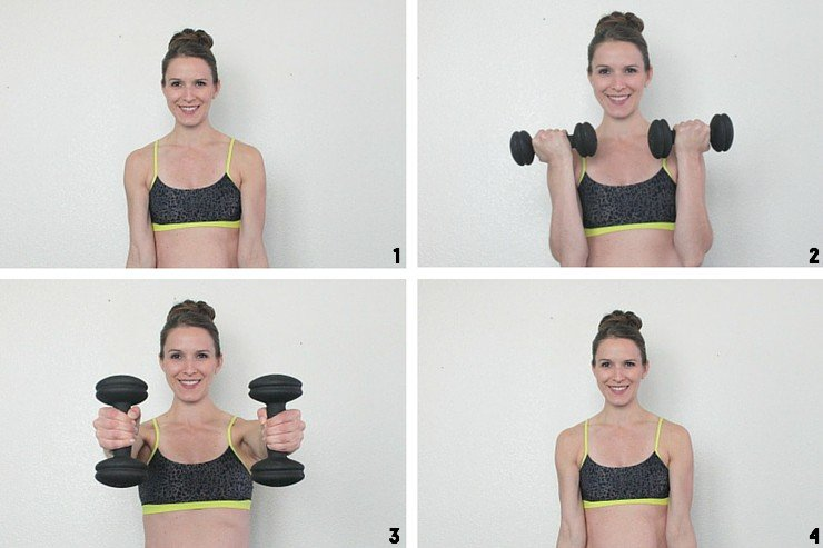 Bicep curls to forward shoulder raises for buff lady arms!