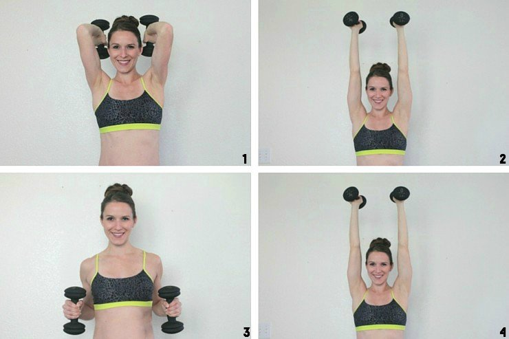 Tricep dips to shoulder squeezes for buff lady arms!
