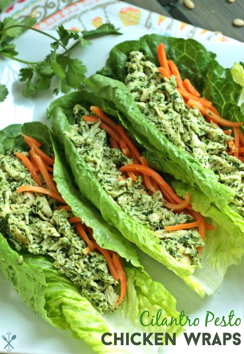 These Whole30 complaint, paleo, low-carb cilantro pesto chicken lettuce wraps are an easy and tasty lunch you can make in just minutes!