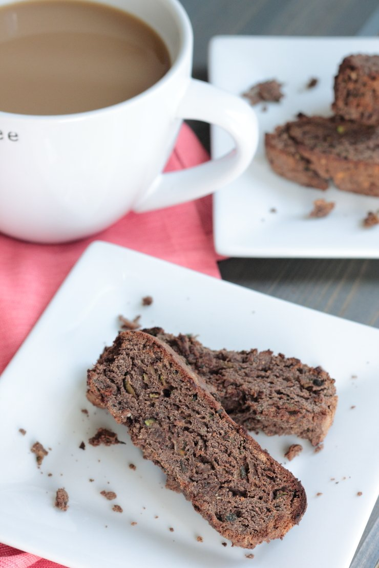 Healthy, paleo, zucchini brownie biscotti. The best chocolate a.m. treat without the guilt!