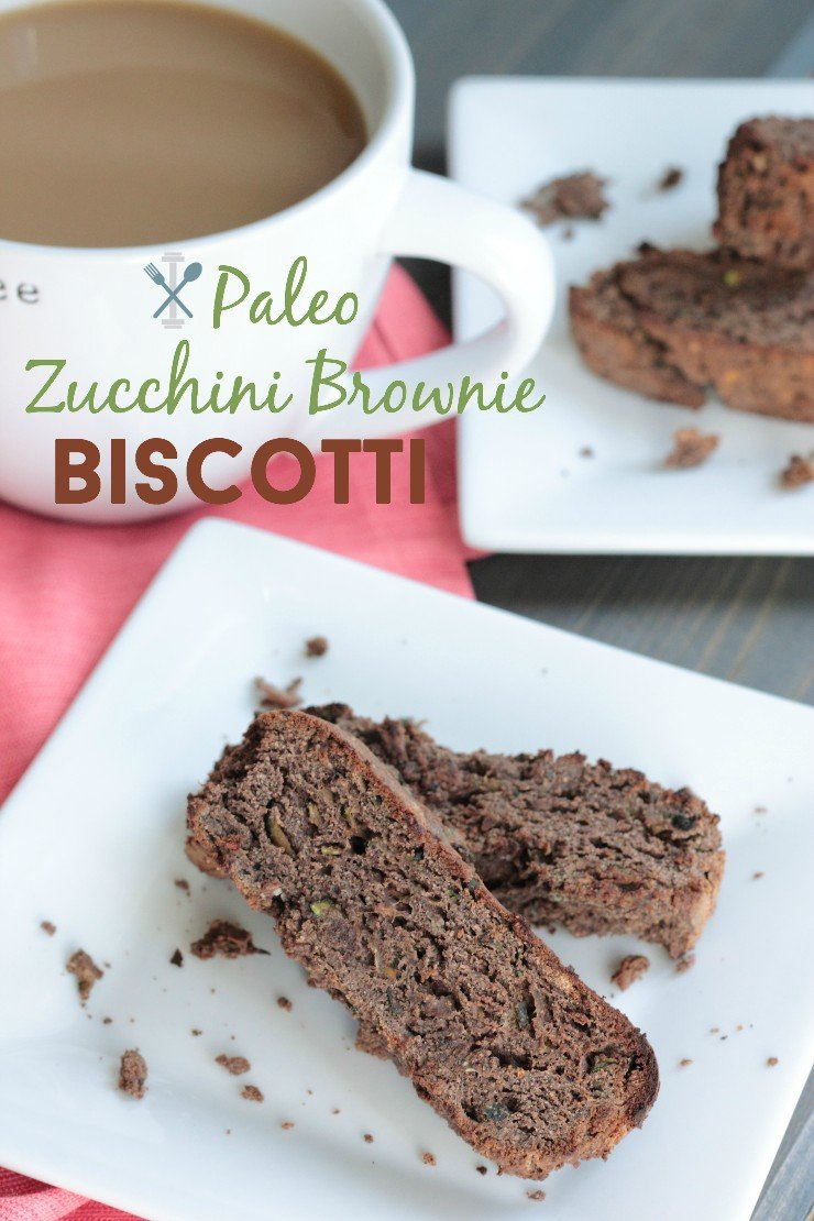Paleo zucchini brownie biscotti. The best healthy treat ever - crunchy outside and soft, moist inside!