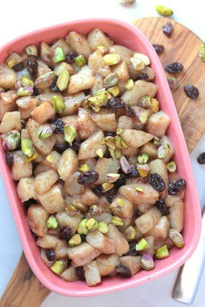 Pear and Raisin Compote with Crushed Pistachios