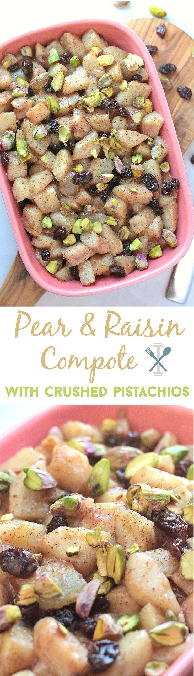 PALEO pear & raisin compote with crushed pistachios. A delicious dessert made in 10 minutes! A perfect, clean treat for two.
