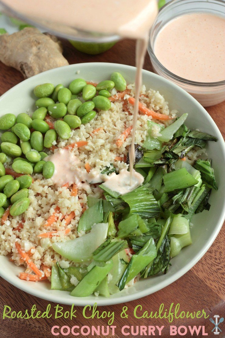 Roasted bok choy, shelled edamame, and a quick coconut amino and ginger cauliflower rice blend make this vegan and meatless meal a sure winner. So tasty and easy to create! Vegan with a paleo option
