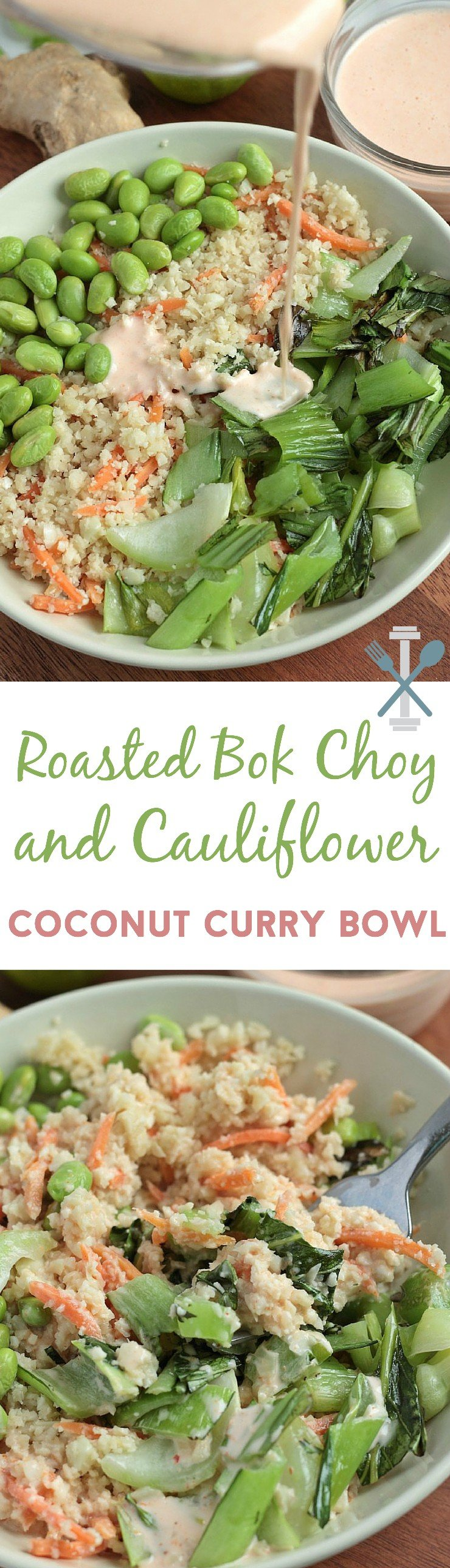 This bok choy, cauliflower rice, and edamame meal with coconut curry is SO tasty! Vegan and can be easily made paleo too!