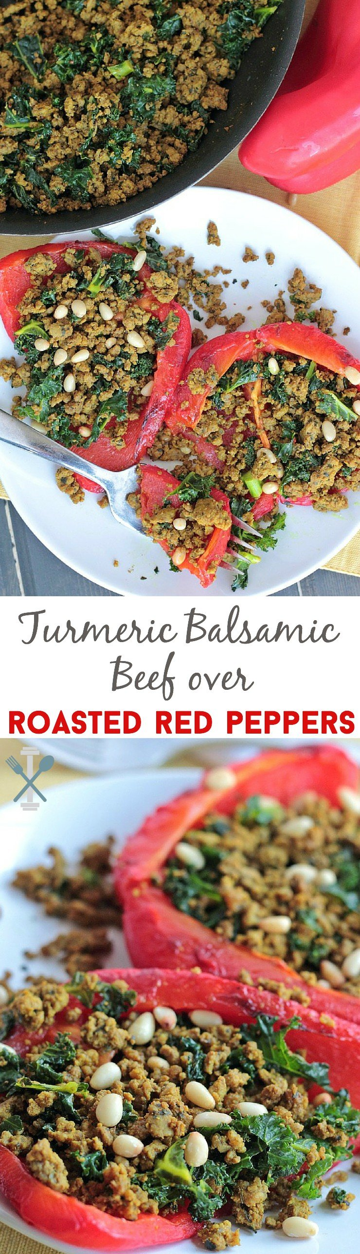 Whole30 Turmeric Balsamic Ground Beef over Roasted Red Peppers. The most amazing, flavor-packed dinner. Seriously, it's a-mazing! And so easy to make - a 20 minute dinner from prep to plated.