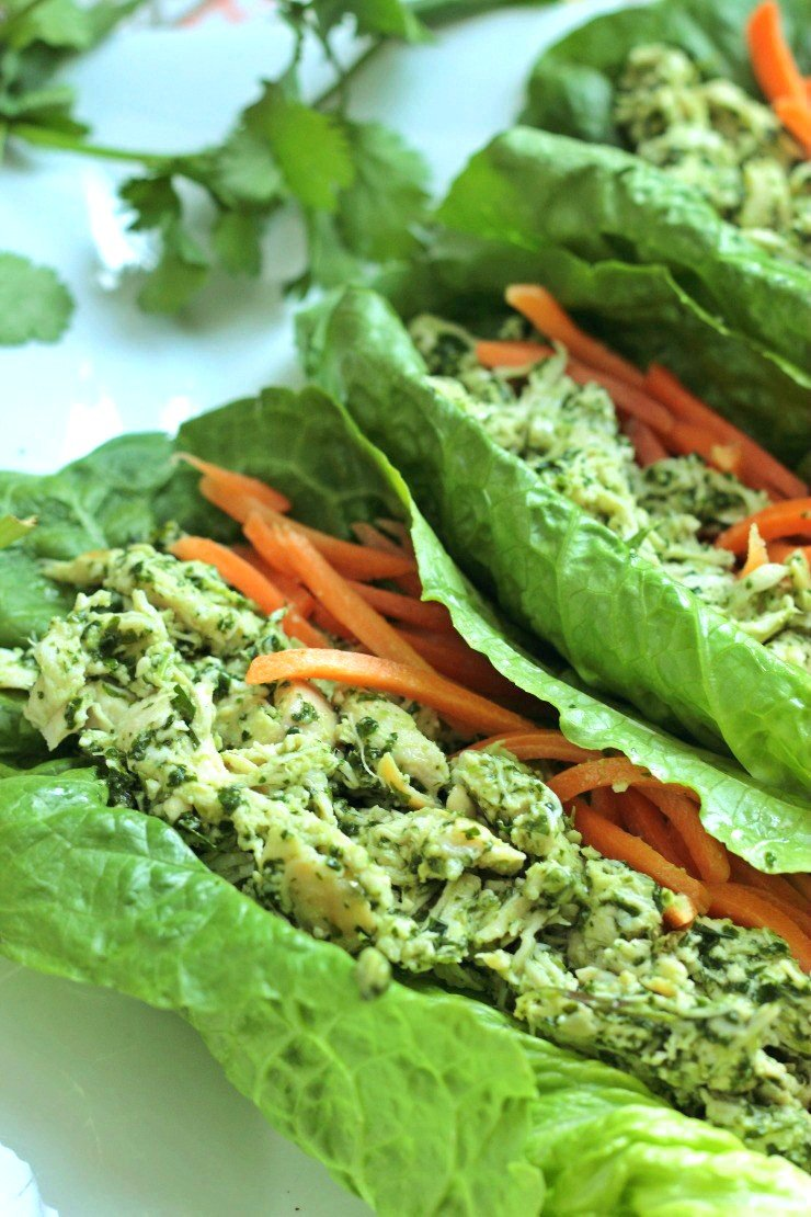 These cilantro pesto chicken lettuce wraps are made with a delicious homemade cilantro pesto and leftover shredded chicken. The perfect lunch - plus it's paleo and Whole30 complaint!