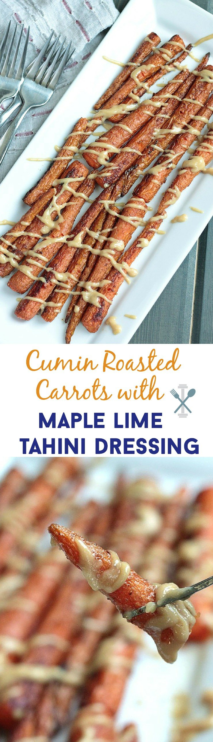 This paleo side dish is perfect to compliment any protein for dinner! So easy, this tasty cumin roasted carrot side dish with a flavor-packed maple lime tahini dressing is a WINNER!
