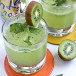 This sparkling mocktail with the tropical flavors of pineapple and kiwi is the perfect healthy summer drink sans the alcohol!