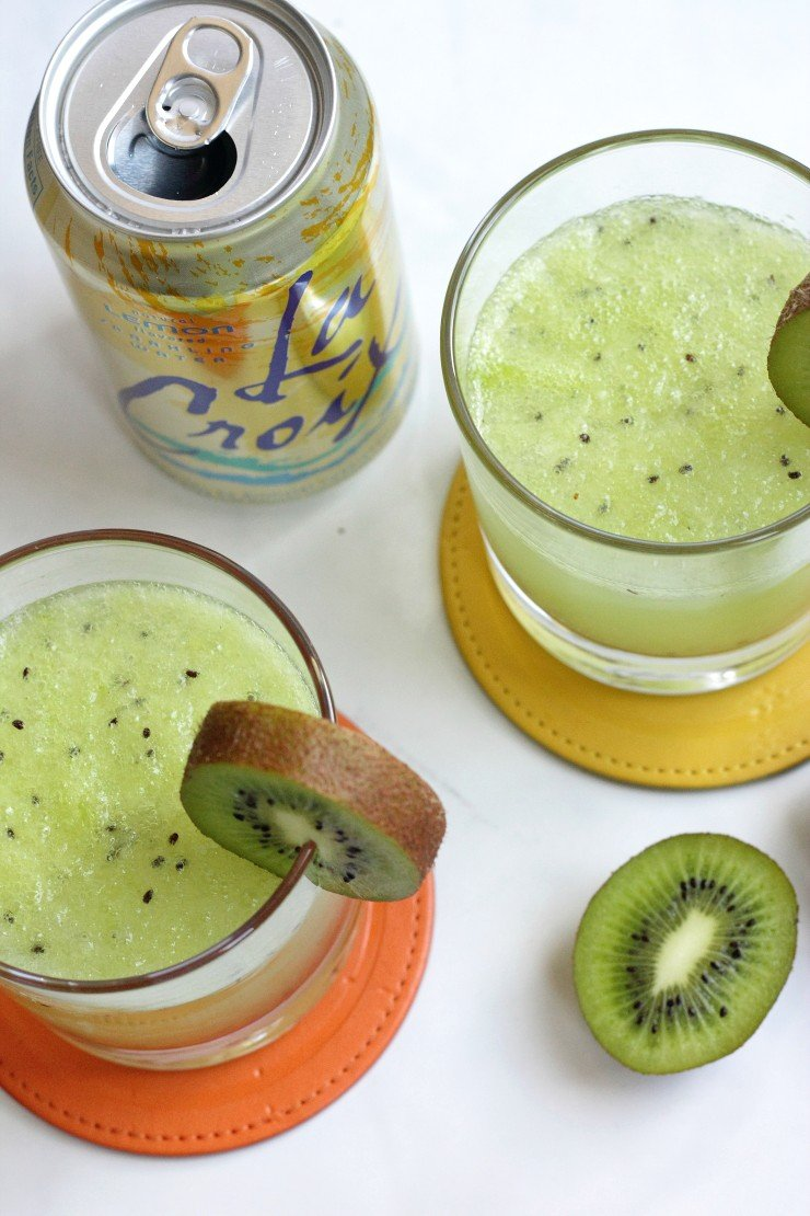 Lemon sparkling water, pureed kiwi, pineapple juice, and raw honey makes the BEST refreshing mocktail ever!