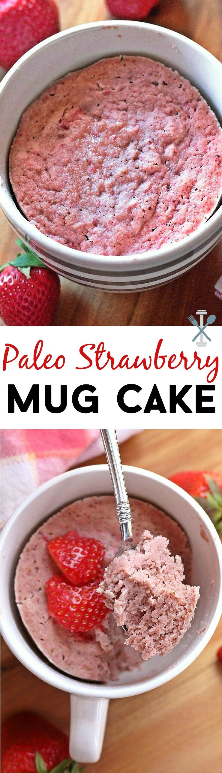 This single serve, 5-minute, paleo strawberry mug cake is so light and fluffy, it will please any strawberry lover! Gluten-free, dairy-free, and refined-sugar free.