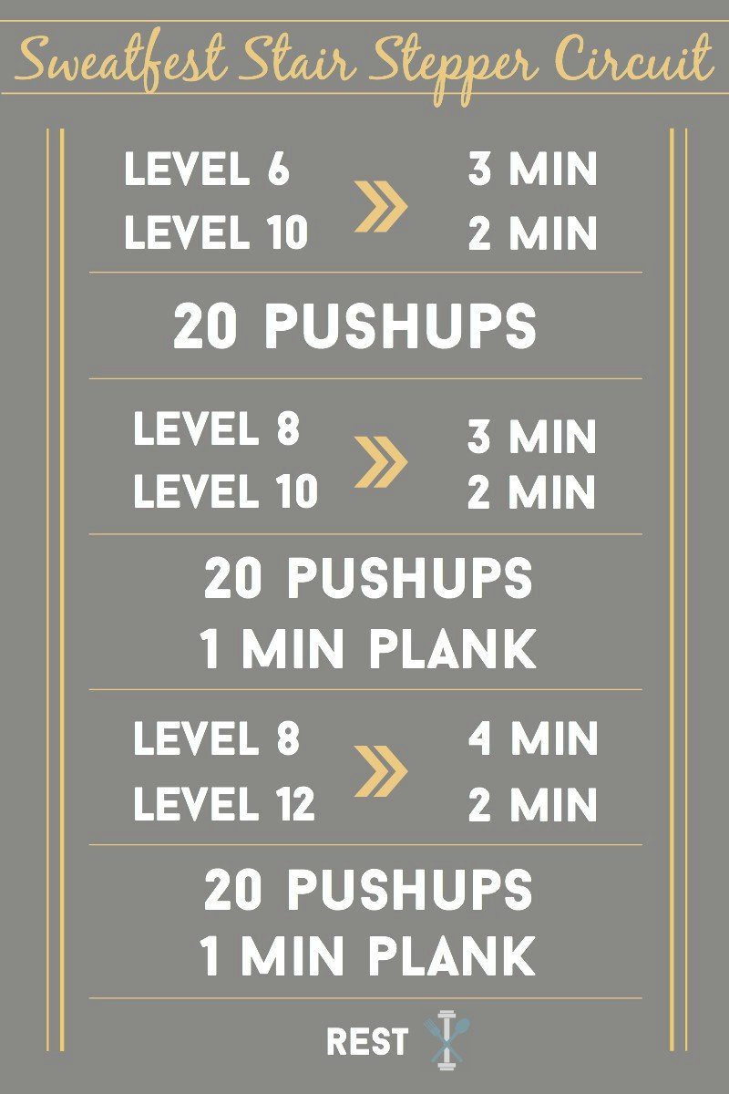 This incredible and QUICK stair stepper workout is great if you're short on time but want a total body circuit that will leave you SWEATING!