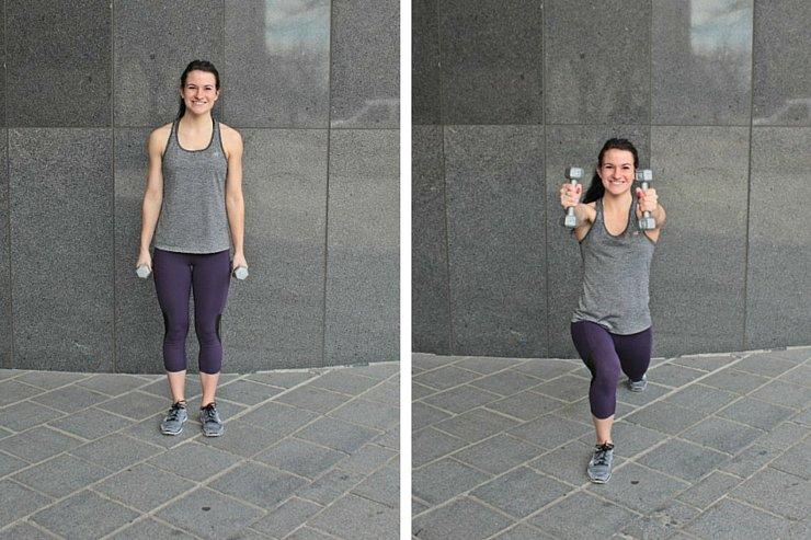 Summer Bikini Workout Series Part 1 - Total Body Tone. Forward lunge shoulder raise
