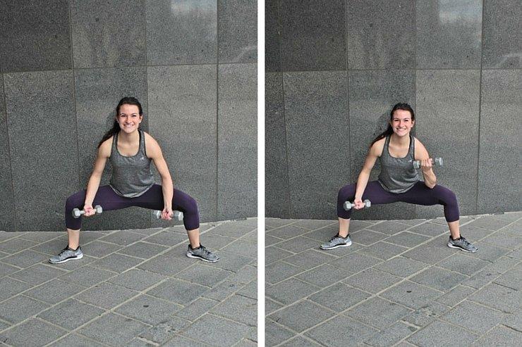 Summer Bikini Workout Series Part 1 - Total Body Tone. Sumo squat bicep curls