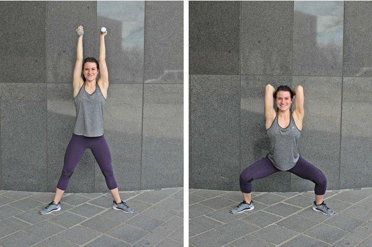 Summer Bikini Workout Series Part 1 - Total Body Tone. Sumo squat tricep dips