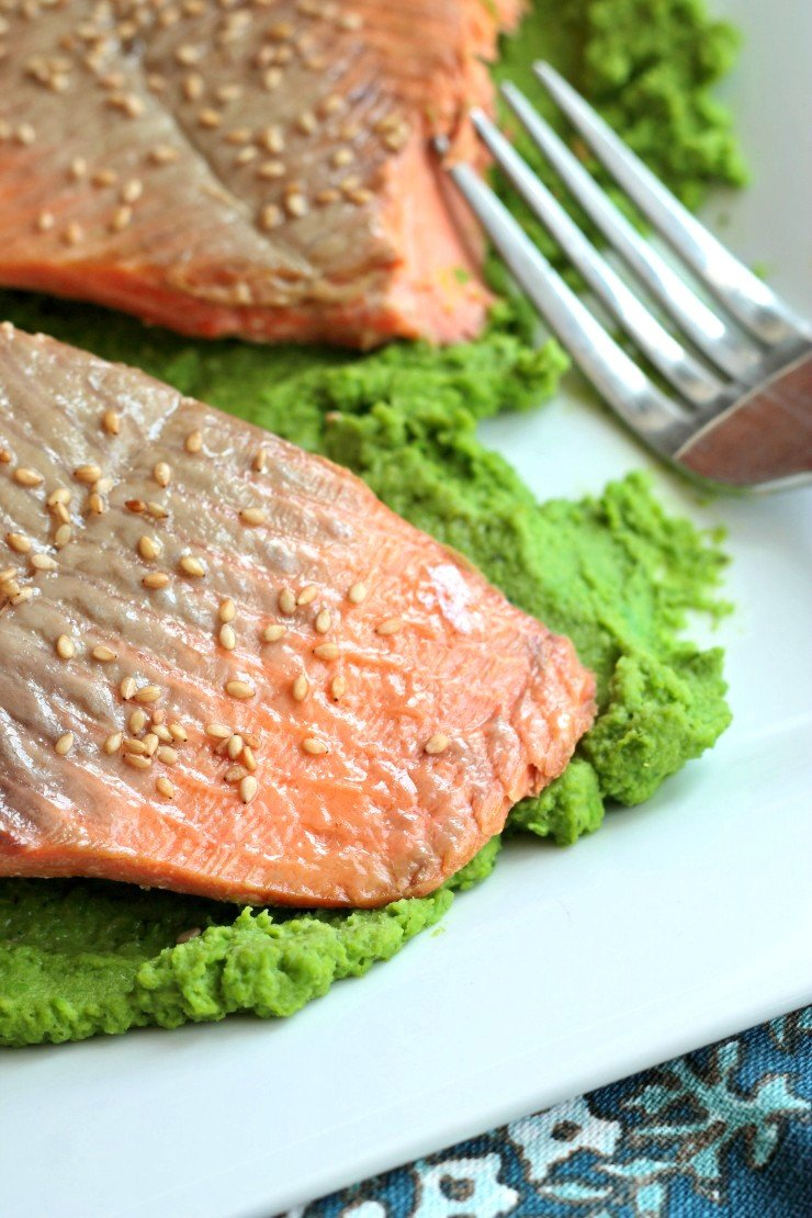 This Asian-inspired salmon is amazing over a pea puree with ginger and mint flavors. Dinner under 20 minutes!