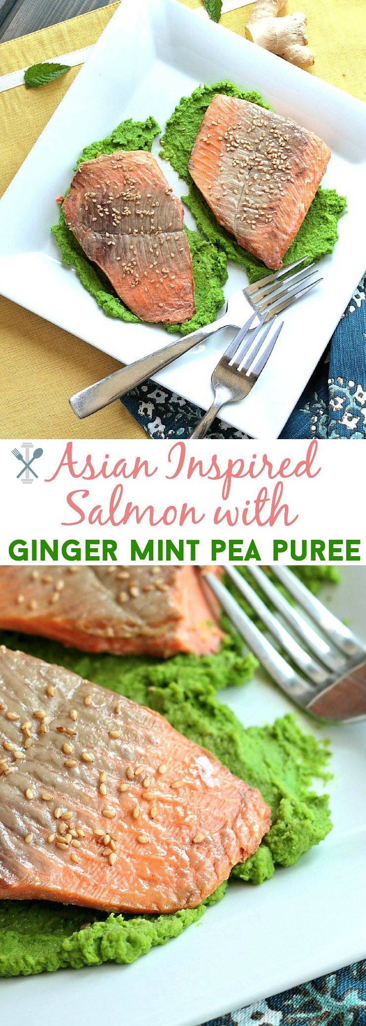 This gluten-free, dairy-free healthy salmon dinner has an Asian-inspired marinade over an amazing ginger mint pea puree. Dinner in under 20 minutes!