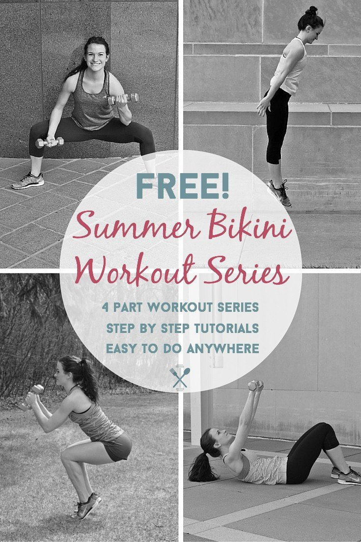 This 4-part workout series is FREE and perfect to do anywhere, anytime to get your summer bikini body. Easy to follow photos and written instructions make this series a perfect fit for anyone.