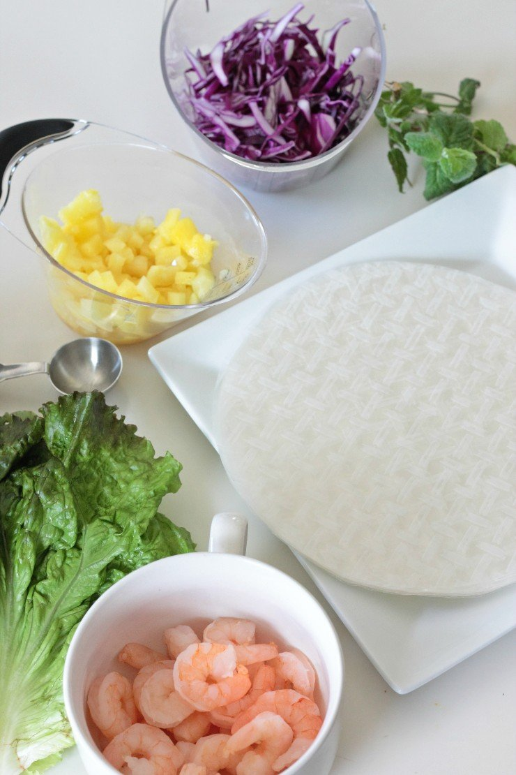 Ingredients for super simple shrimp and pineapple spring rolls