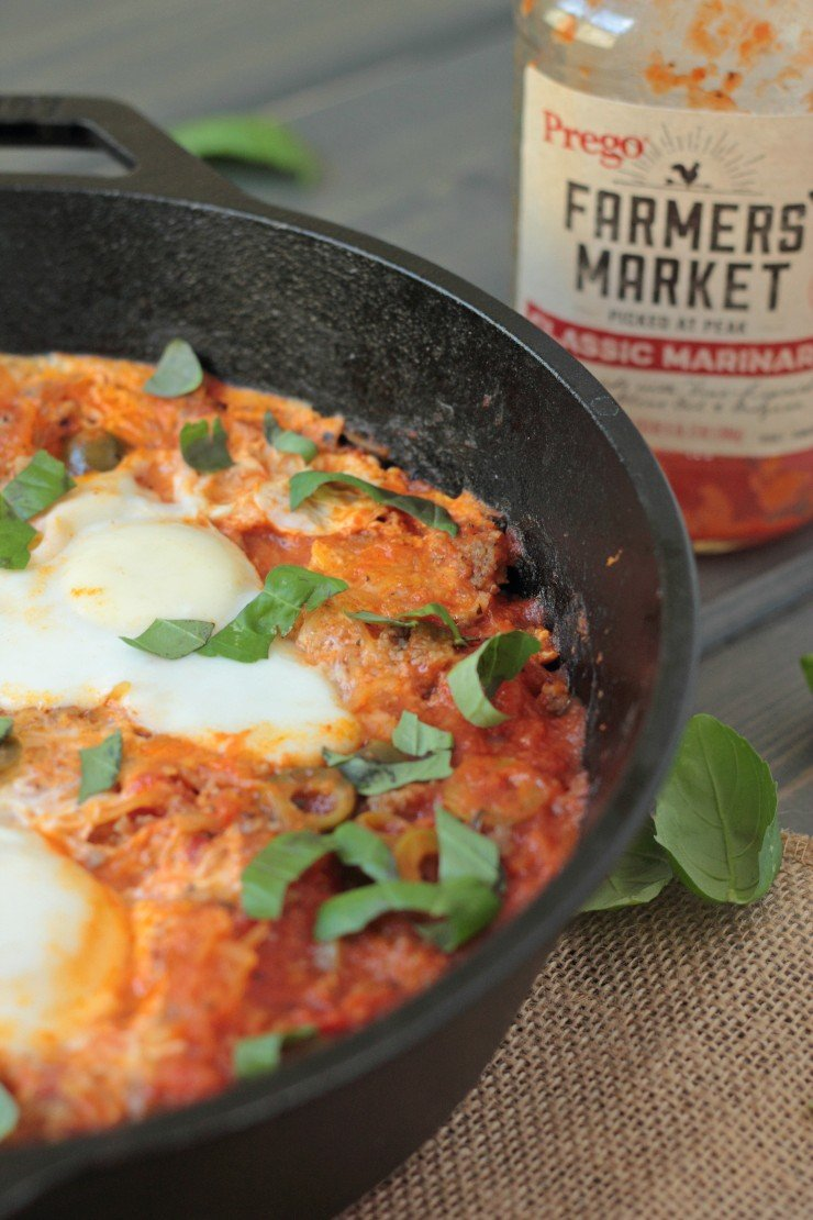 Five simple ingredients make up this warm and healthy one pot dinner (or breakfast). So easy and bursting with tomato and basil flavor!