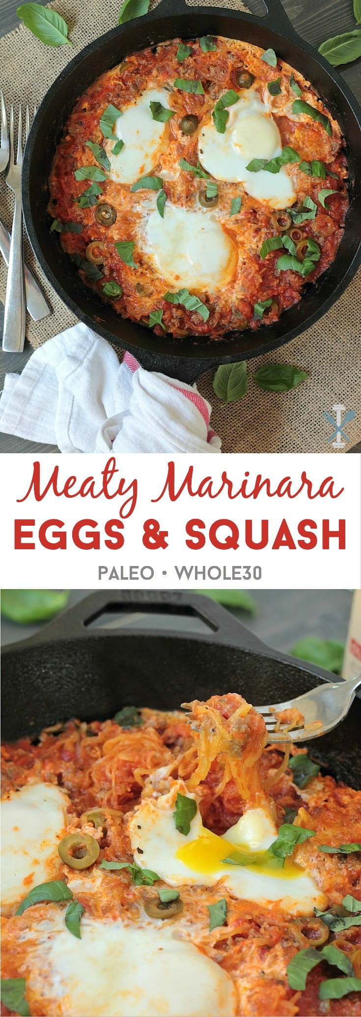 #ad #pickedatpeak I can't believe this hearty paleo and whole30 compliant meaty marinara eggs and squash is only 5 ingredients! It's a perfect one-pot breakfast or dinner for big appetites!