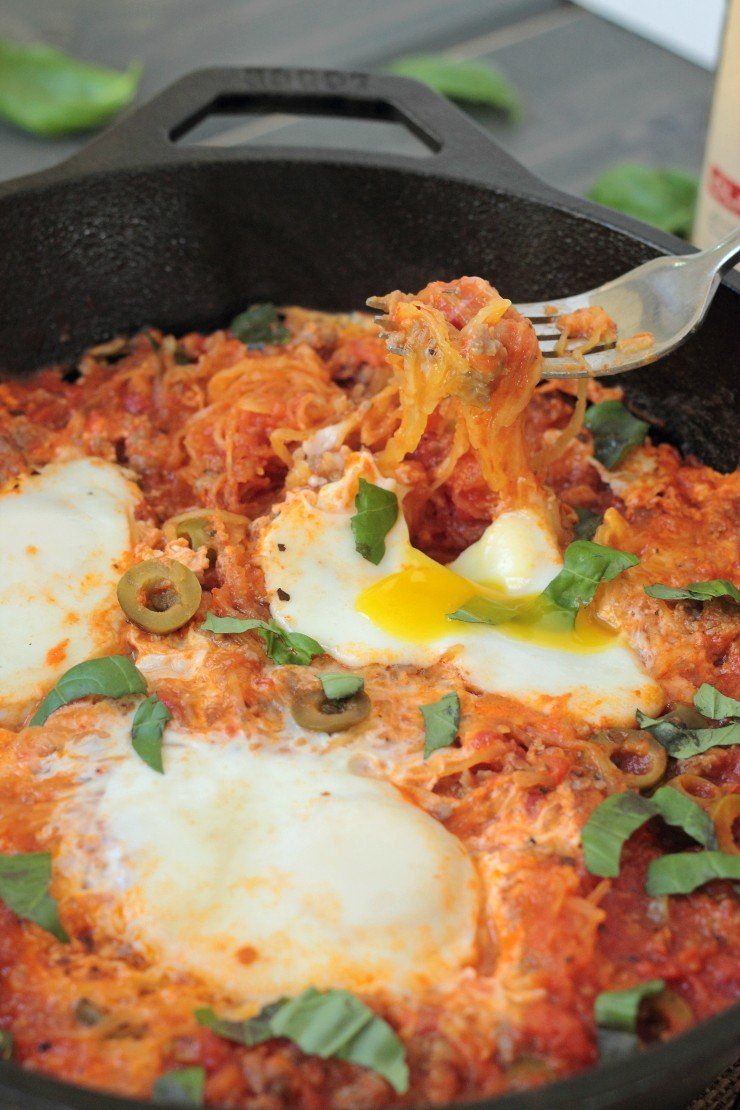 Ground pork, roasted spaghetti squash, olives, and eggs with those decadent runny yolks make this one-pot meal a true breakfast or lunch winner! Plus it's paleo and whole30!