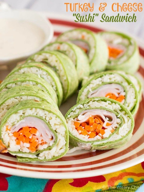 """Turkey and cheese """"sushi"""" sandwich from The Weary Chef"""