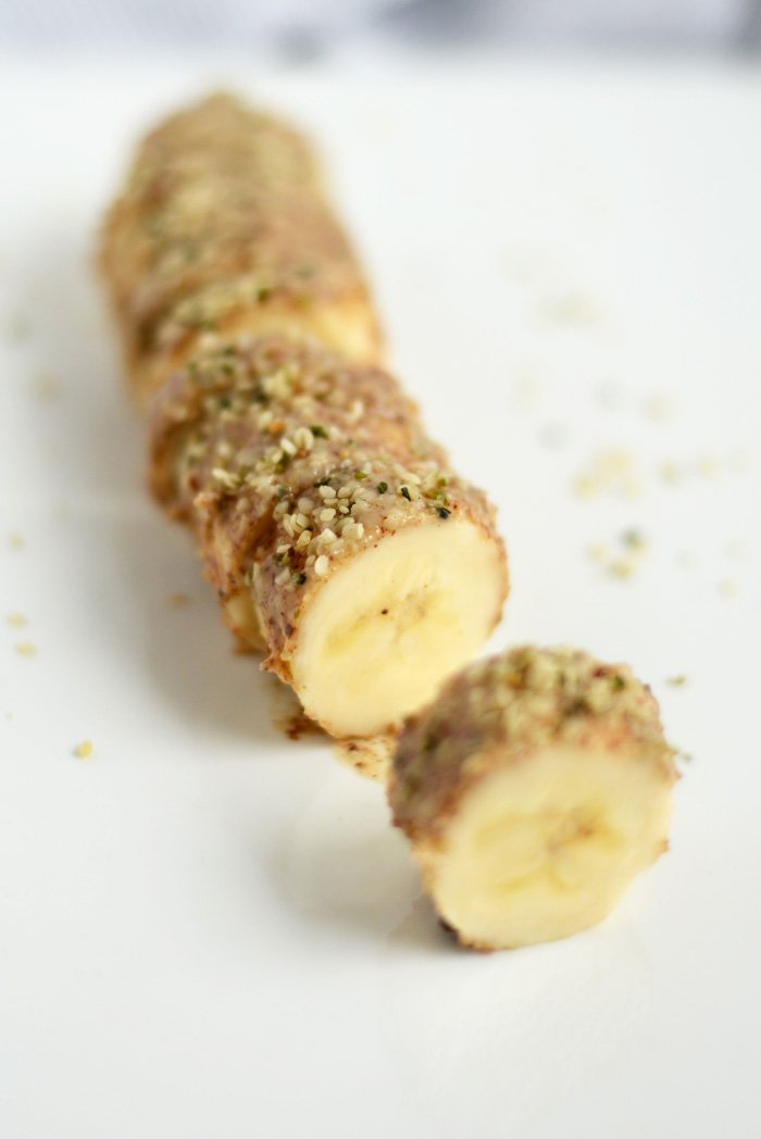 Almond butter and hemp seed banana sushi from Fit Foodie Finds