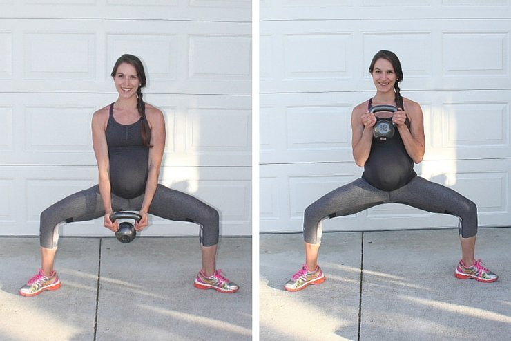 Beginner Kettle Bell Workout - Squat Bicep Curls