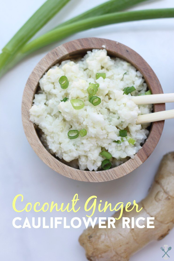 Simple, easy, and full of flavor. Coconut ginger cauliflower rice is Whole30 complaint and vegan. It's the perfect low-carb alternative to traditional rice with a little spin!