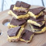 Almond & pecan nut base, a creamy mango center, topped by a thick and decadent chocolate shell, these no bake paleo chocolate mango bars are a cool, sweet treat that everyone will LOVE!