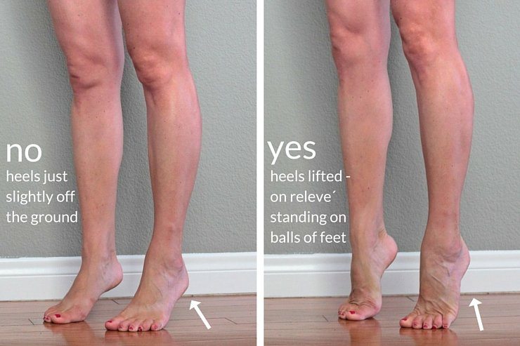 One move for insanely toned legs - step #1: stand high on the balls of your feet