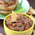 This paleo, vegan, whole30 compliant roasted red pepper and eggplant tapenade is the perfect dip or condiment! Bursting with fresh roasted veggie flavor, basil, and balsamic!