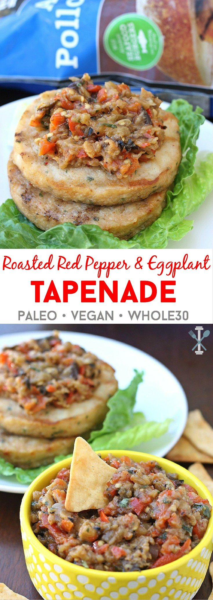 #ad #Swapyourburger This paleo, vegan, whole30 compliant roasted red pepper and eggplant tapenade is the perfect dip or condiment! Bursting with fresh flavor and perfect for spreading over fish burgers