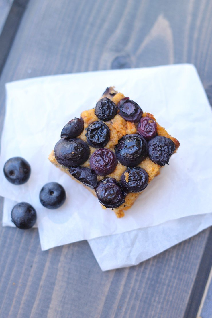 Moist, sweet, and healthy?! These sweet potato blueberry breakfast bars are packed with vitamins and antioxidants, but you'd never know they are made with all natural ingredients because they are SO GOOD! No refined sugar, gluten-free, dairy-free