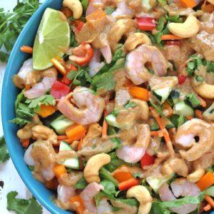 Thai Shrimp Salad with Almond Dressing (paleo + whole30)