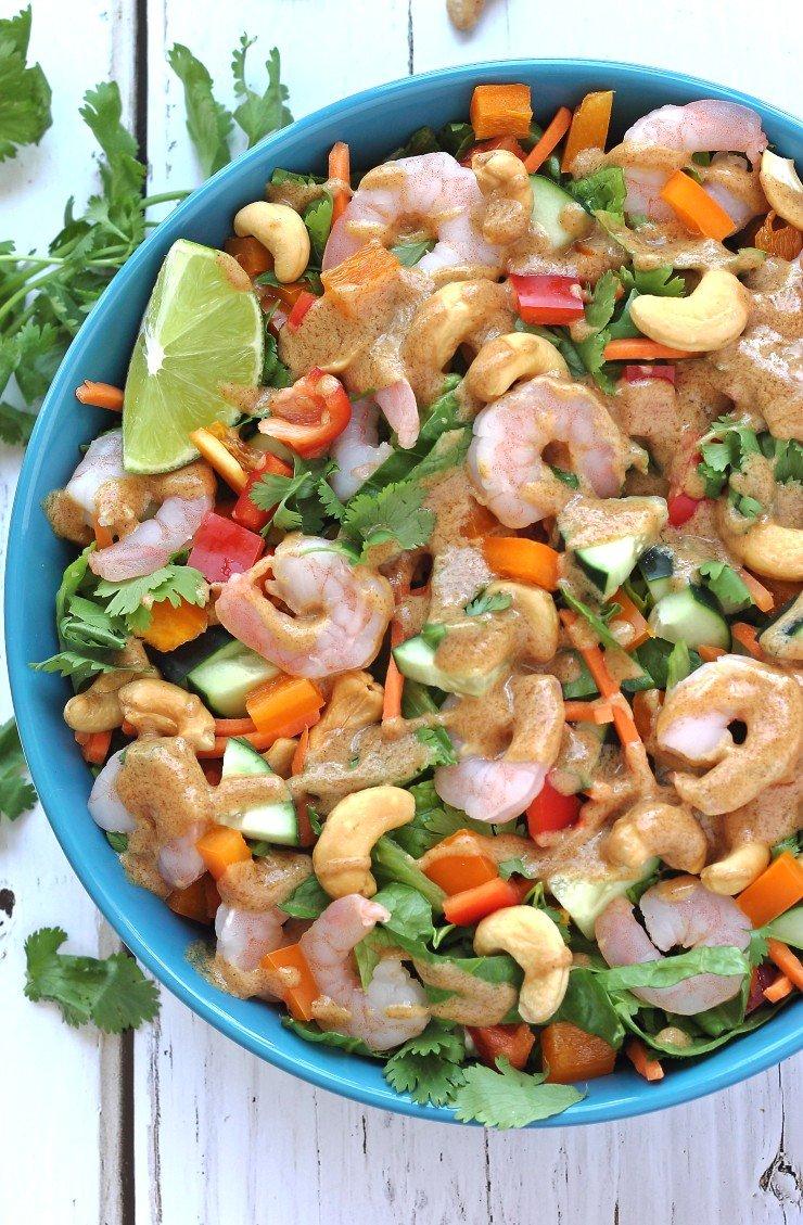 Thai shrimp salad almond dressing paleo whole30 for Whole 30 fish recipes