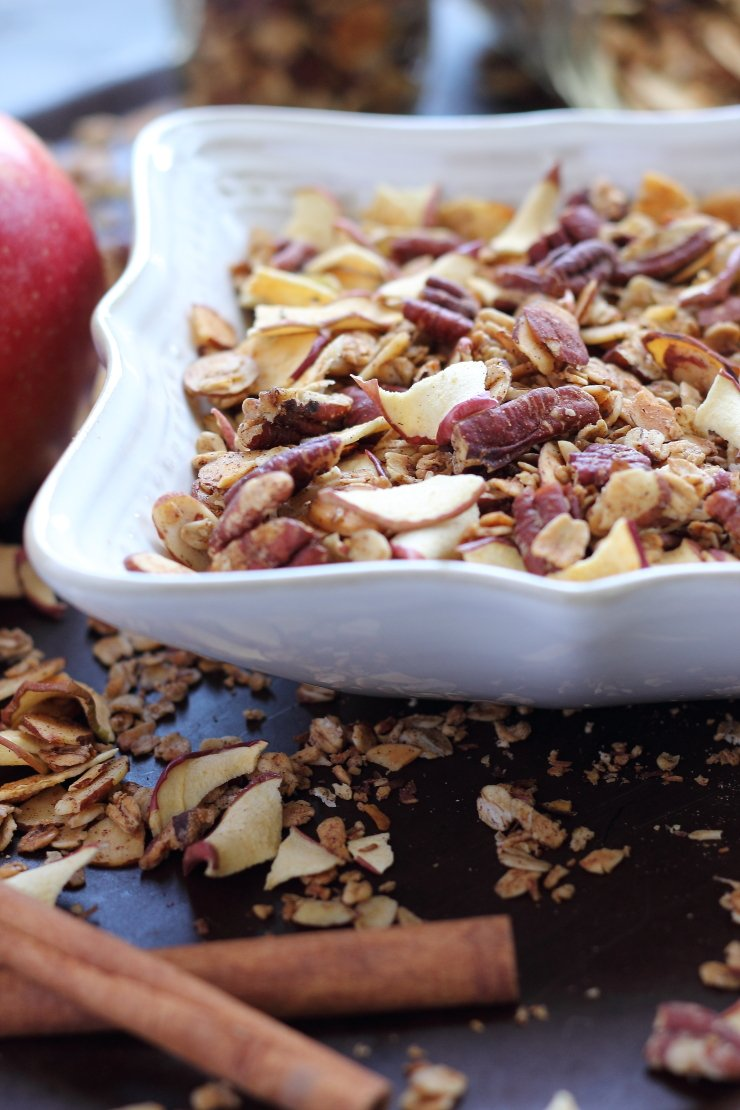 Toasted oats and pecans, combined with apple pie spices and dried apple chips make this granola taste amazing - just like an apple pie, but healthier!
