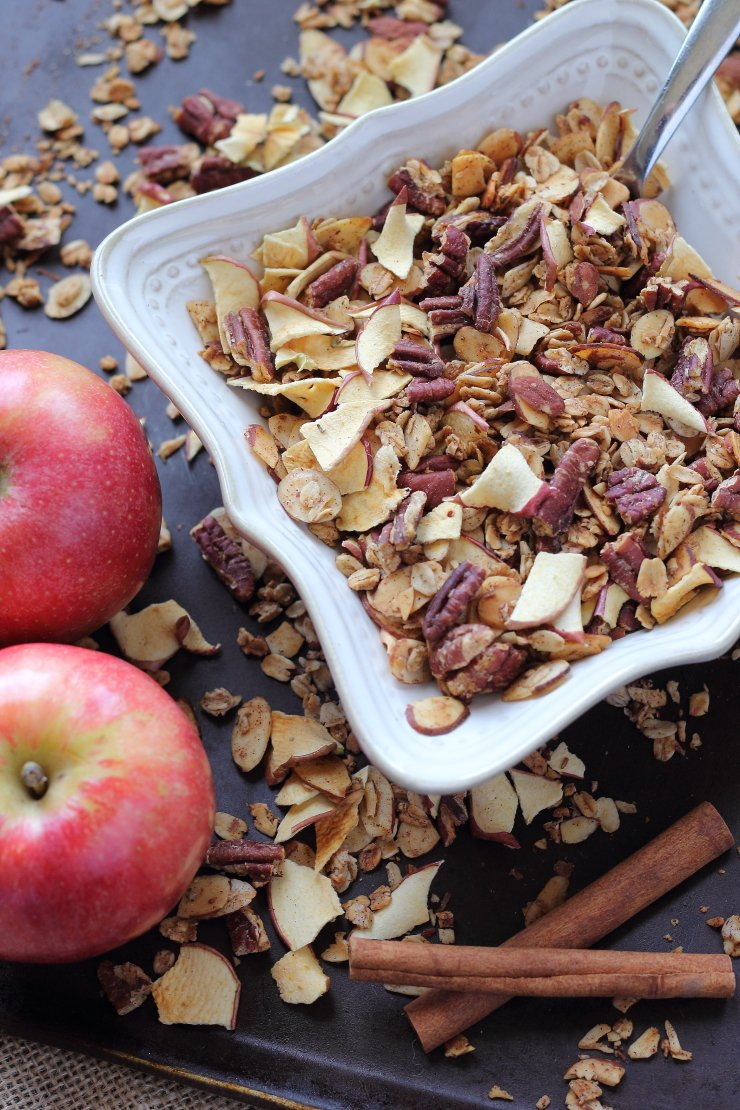 All the delicious flavors of fall in a clean and simple granola. This healthy apple pie granola is like a decadent dessert minus the sugar and loaded calories!