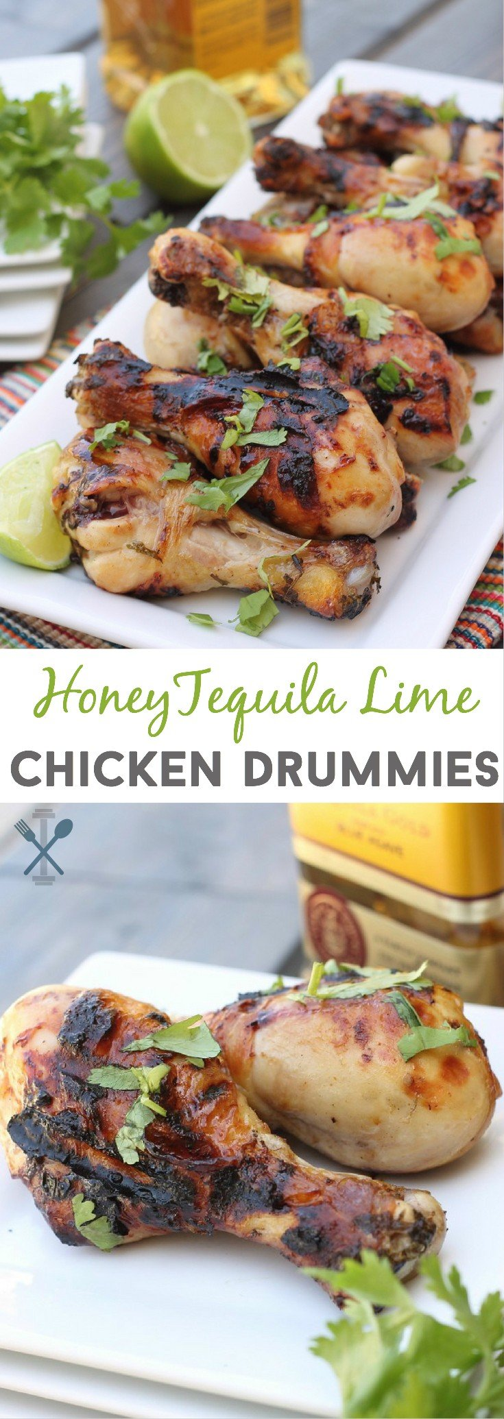 The ultimate football party snack. These honey tequila lime chicken drummies are sweet and tender with a boozy lime marinade that gives the meat a TON of flavor!