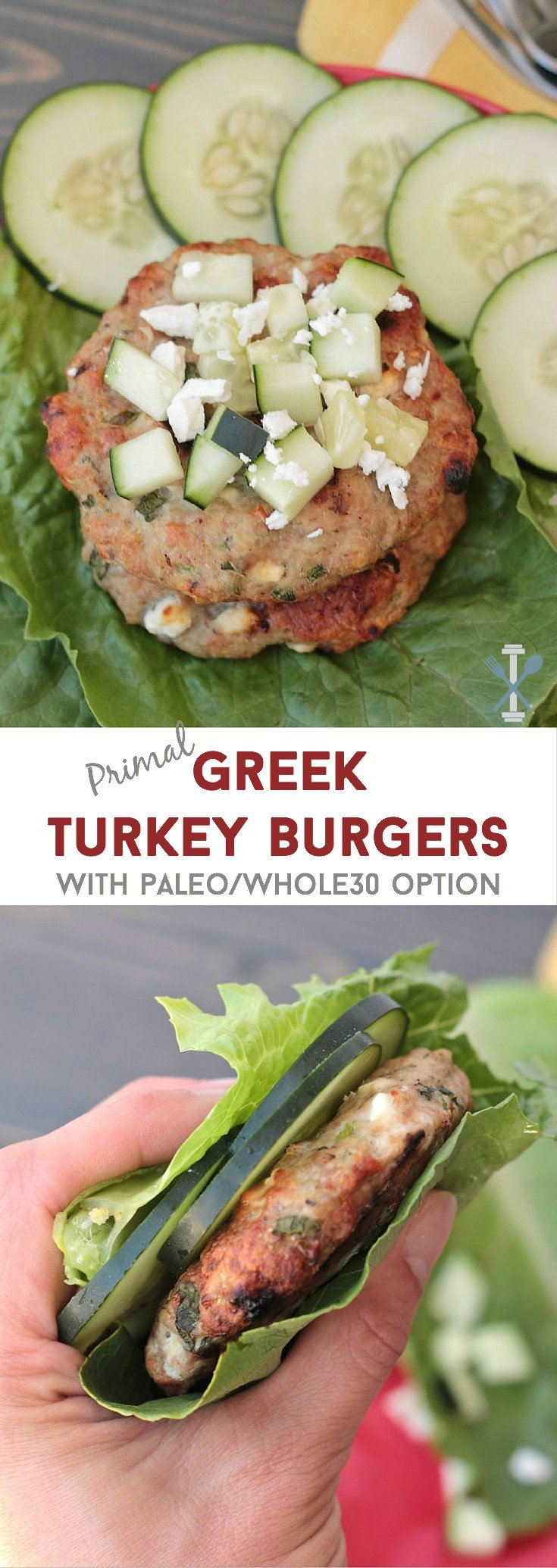 These primal Greek turkey burgers are the perfect lean burger - packed with fresh flavors like mint, feta, and oregano, these are sure to please (even beef-loving-husband's approve)! With a paleo and whole30 option!