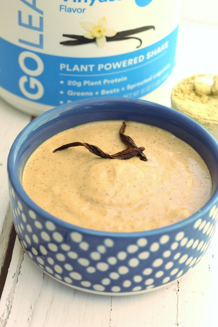 This protein pudding tastes exactly like vanilla cake batter! But it's healthy! Creamy vegan vanilla cake batter protein pudding.