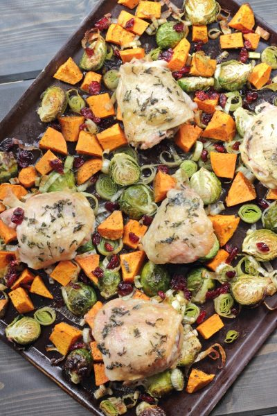 Autumn Roasted Veggie Sheet Pan Chicken with Craisins