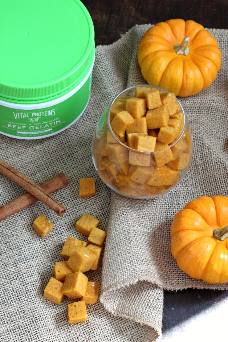 These paleo pumpkin marshmallows are HEALTHY! Made with collagen protein - these fall treats are so delicious, perfect in hot beverages, and amazing for your skin, nails, and hair!