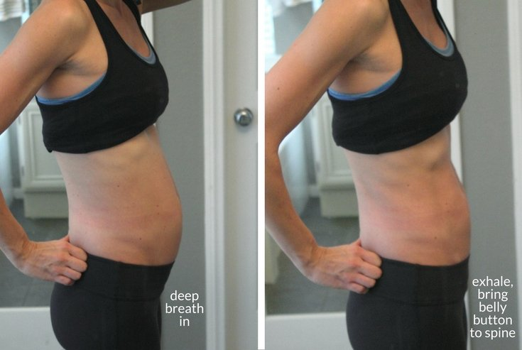 """Vacuum"" breathing - bringing your belly button in towards your spine while exhaling sharply is one way to heal your diastasis recti"