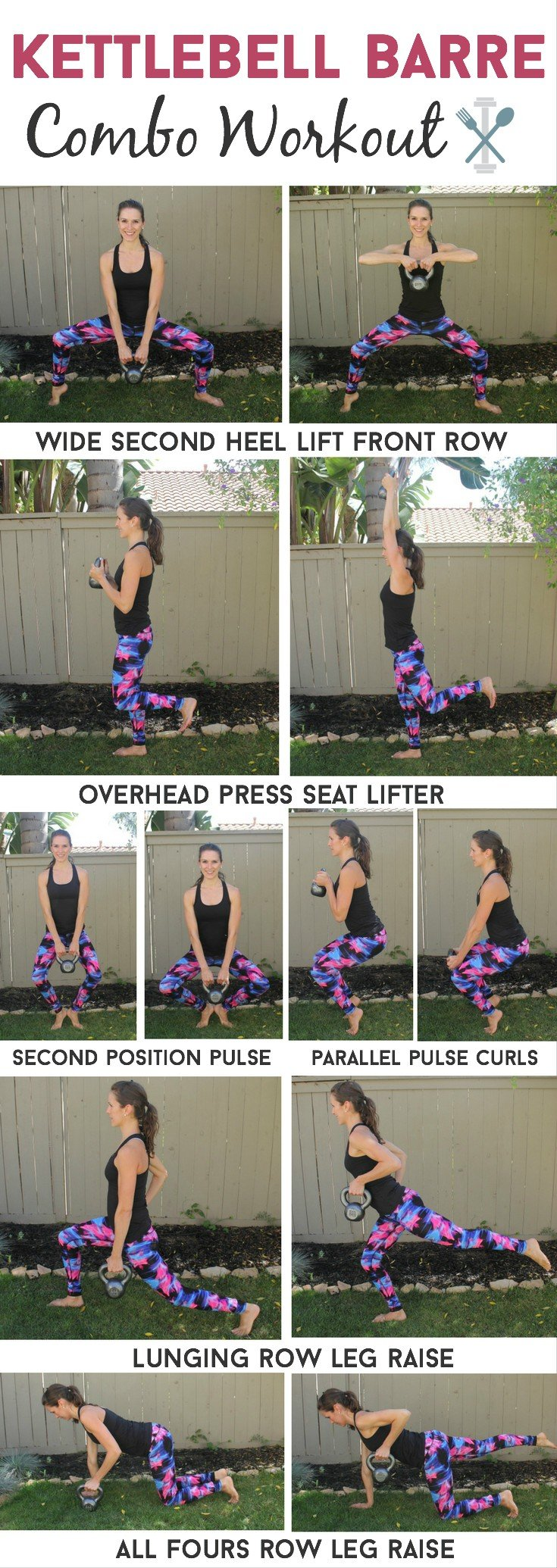 This workout is amazing, combining traditional barre moves to sculpt your butt and thighs, with powerful upper-body kettlebells moves.