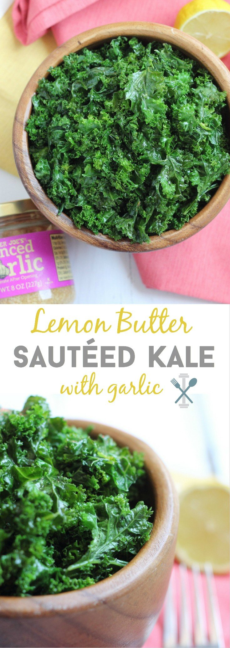 Whole30 compliant - this lemon 'butter' sautéed kale is easy to make and will convert any kale hater! All the flavors combine beautifully for a killer side dish to any dinner.